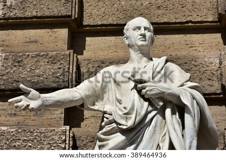 Detail of Cicero marble statue in front of Rome Old Palace of Justice. The great orator of Ancient Rome.