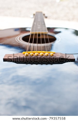 Detail of classic acoustic guitar.