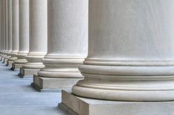 Detail of classic columns in Harvard University