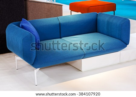 Detail of classic furniture sofa in living room. #384107920