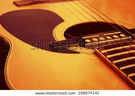 detail of classic guitar with shallow depth of field - stock photo