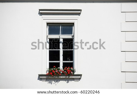 Detail of classical window on white wall with red flowers