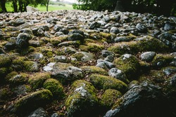 detail of Clava cairns, prehistoric  site of cemetery complex of passage graves, ring cairns, kerb cairns and standing stones