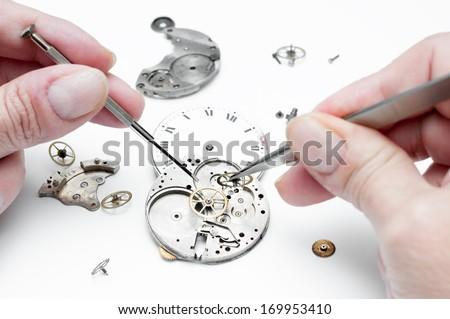 Detail of clock parts for restoration ストックフォト ©