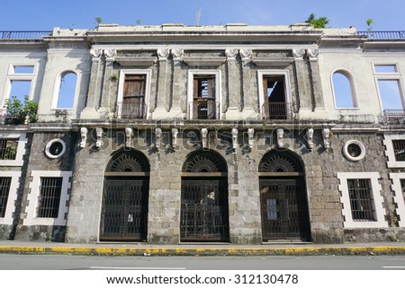 Detail of colonial architecture in Intramuros district, Manila, Philippines.