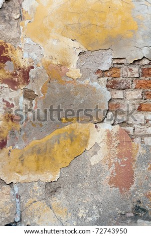 Detail of colorful, textured, stucco yellow wall