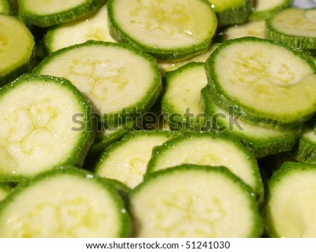 Detail of courgettes or zucchini vegetable food