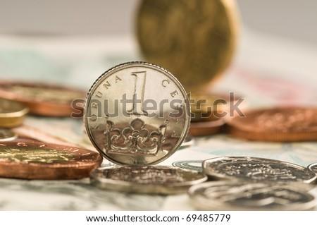 Detail of Czech Republic currency on desk