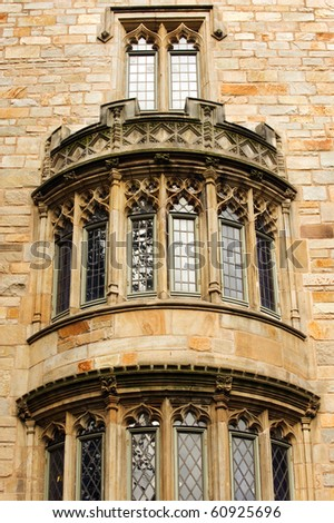 Detail of Davenport College facade, Yale university