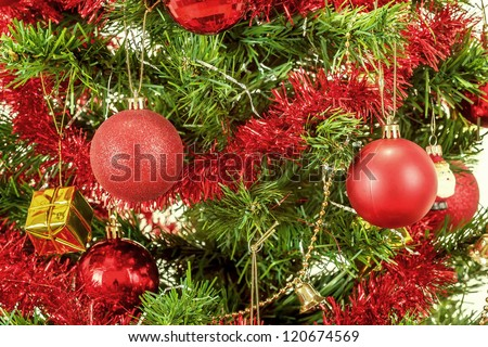 detail of decorated christmas tree with red balls