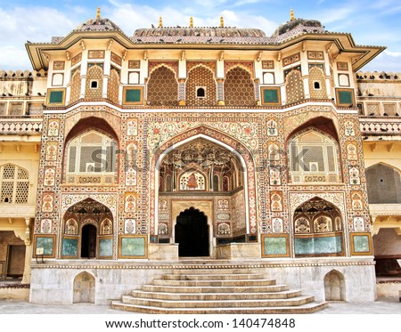 Detail of decorated gateway. Amber fort.  Jaipur, India