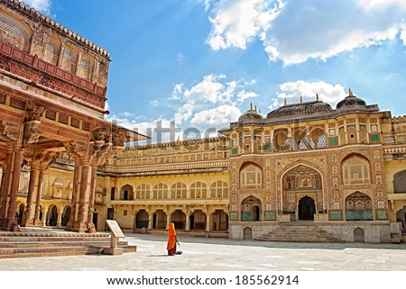 Detail of decorated gateway. Amber fort. Jaipur, Rajasthan, India
