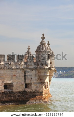 Detail of decoration Tower of Bel���©m in the water of the river Tagus. Portugal, Lisbon