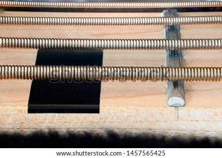 Detail of electric bass string strings.