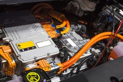 Detail of engine of car. (electric car)