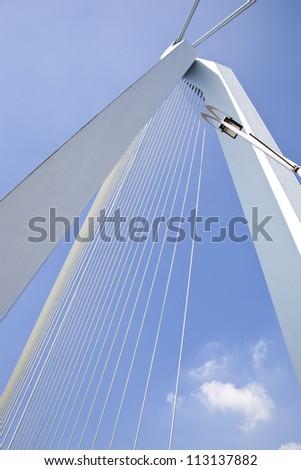 Detail of Erasmus bridge in Rotterdam, The Netherlands