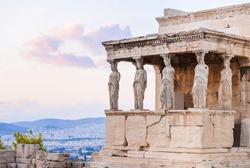 Detail of Erechtheion in Acropolis of Athens, Greece