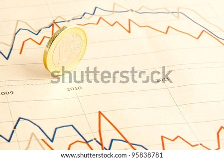 detail of euro coin on financial chart of  business newspaper