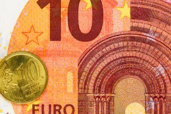 Detail of euro money on table. Macro shot, close up photo of euro. Business concept.