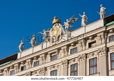 Detail of facade of the imperial palace in Vienna