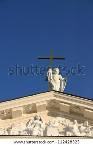 Detail of facade of Vilnius Cathedral, Lithuania