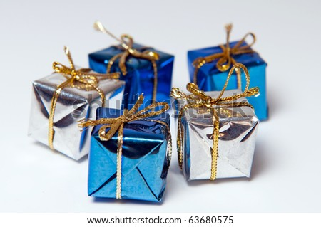 Detail of five Christmas gifts, horizontal shot.