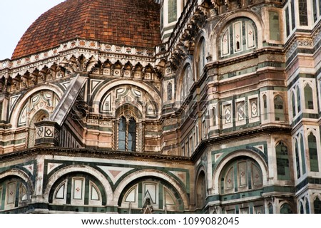 detail of Florence Duomo. Basilica di Santa Maria del Fiore (Basilica of Saint Mary of the Flower) in Florence, Italy #1099082045
