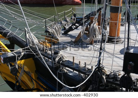 Detail of focsle (forecastle) on tall sailing ship