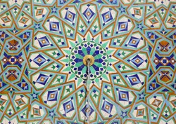 Detail of fountain with symmetrical Islamic - Arabesque style glazed wall tiles. Hassan II Mosque, Casablanca, Morocco.