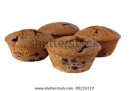 Detail of four gluten free muffins with blueberries isolated on white background