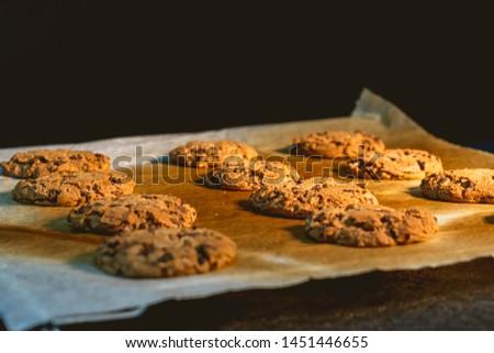 Detail of freshly baked homemade chocolate cookies on baking sheet on baking paper #1451446655