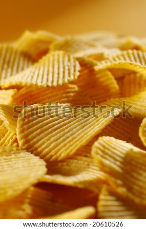 Detail of fried potato chips