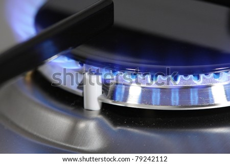 Detail of gas burner with blue flame.