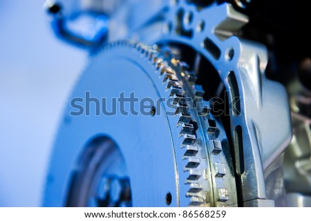 detail of gear in car engine.