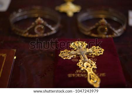 Detail of golden church vestment, Close up - Shutterstock ID 1047243979