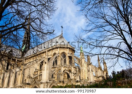 Detail of gothic Cathedral of Notre Dame in Paris