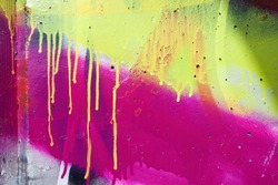 Detail of graffiti with several layers of paint