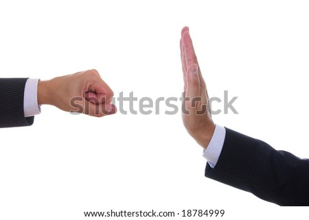 Detail of hand making different gestures isolated on white