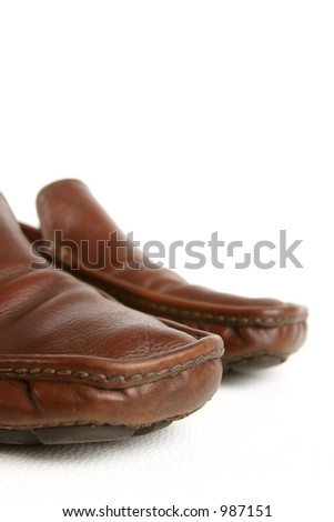 detail of handmade shoes - stock photo