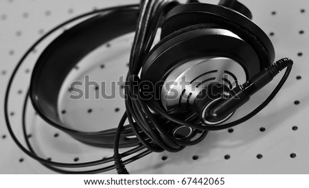 Detail of headphones for music listening and deejaying #67442065