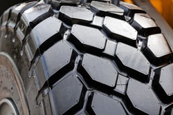 detail of heavy tractor wheel and tire