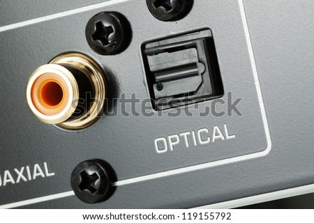 Detail of hi-fi audio system - optical output with narrow focus, colours edited