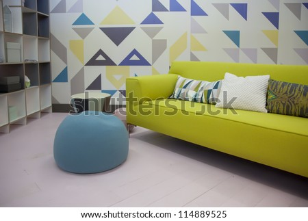 detail of home interior with stylish sofa