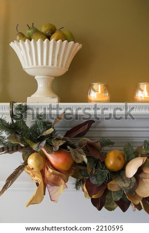 detail of house interior decorated for thanksgiving or christmas - stock photo