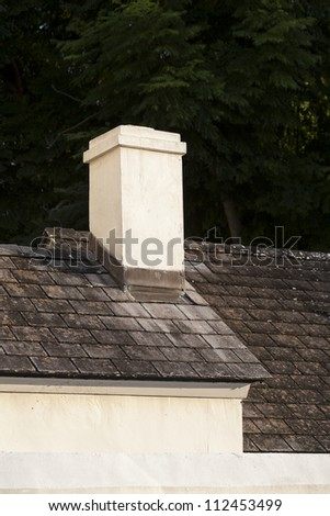 Detail of house with chimney.  St. Augustine, FL, USA.