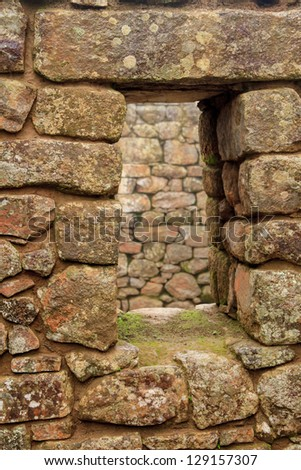 Detail of Inca Ruins at Machu Picchu