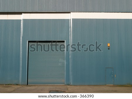 Detail of industrial storage unit and roller shutter door