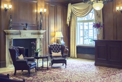 detail of interior in classic London hotel