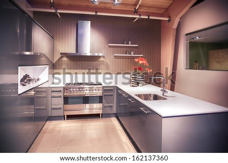 detail of interior of  kitchen in contemporary style
