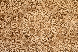 Detail of Islamic (Moorish) tilework at the Alhambra, Granada, Spain. Great background texture